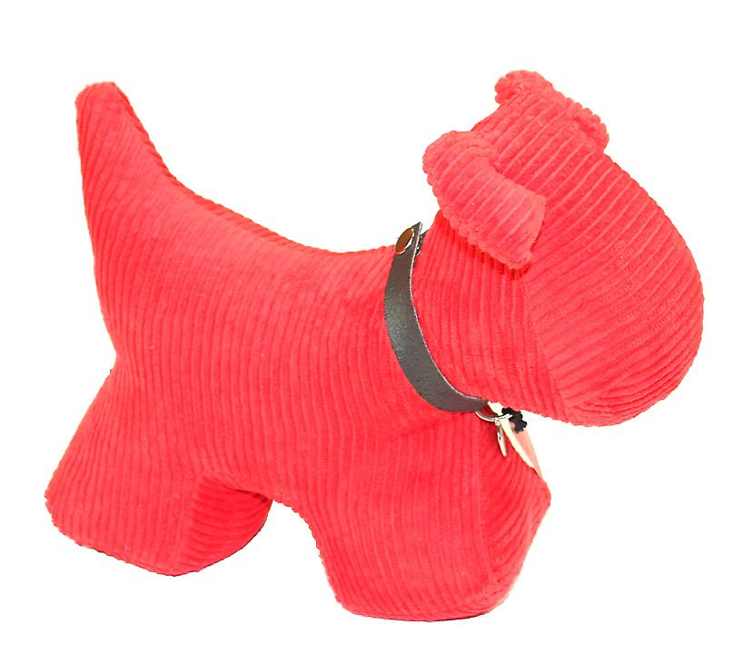 Red Jumbo Cord Dog Doorstop by Monica Richards