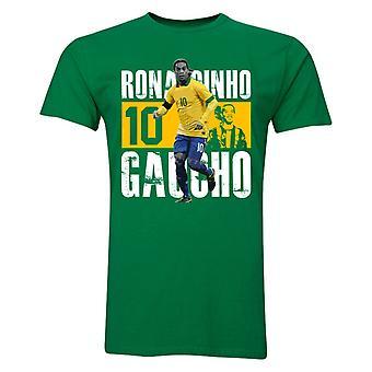 Ronaldinho nummer 10 spiller t-skjorte (gul)