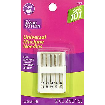Dritz Sewing 101 Universal Machine Needles 5/Pkg-Sizes 11/75, 14/90 & 16/100 5/Pkg