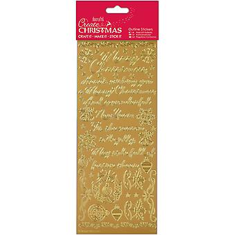 Papermania Outline Stickers-Traditional Christmas Verses - Gold