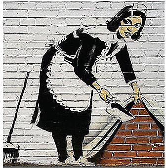 Banksy Maid Cleaning Wall Drinks Mat / Coaster