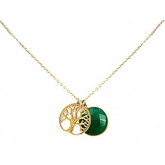 925 Silver gold plated ladies - necklace - pendants - tree of life - - emerald - green - 45 cm