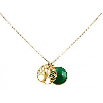 925 серебряные позолоченные дамы - ожерелье - Кулоны/Подвески - Древо жизни - изумрудно - зеленый - 45 см