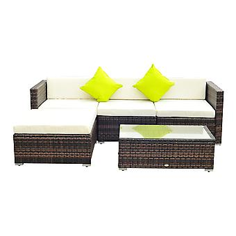Outsunny 5 Pieces Rattan Sofa Set Wicker Garden Sectional Furniture Cushion Patio Brown