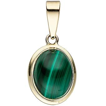Pendant-oval 585 Gold Yellow Gold 1 Malachite Green pendant gold