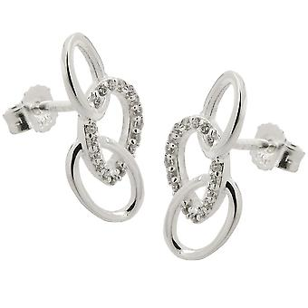 Plug 16x7mm with 3 ellipses and Zircons Silver 925