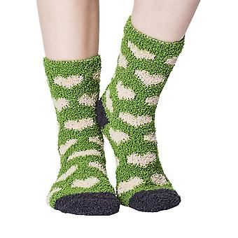 Heart women's soft fluffy sofa and bed socks in olive | By Thought