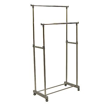Tweddle - Metal Double Clothes Rail / Wardrobe - Silver