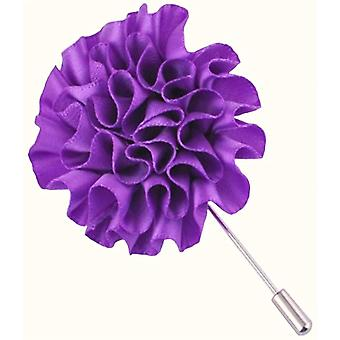Bassin and Brown Flower Lapel Pin - Purple