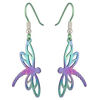 Ti2 Titanium Dragonfly Drop Earrings - Green/Purple/Pink