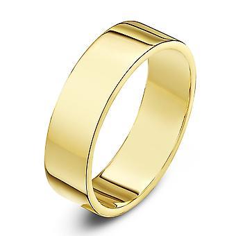 Bague de mariage alliances Star 18 carats jaune or lourd plat 5mm