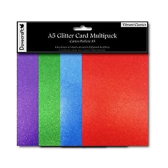 SALE - 12 Vibrant A5 Glitter Card Sheets for Crafts | Coloured Card for Crafts