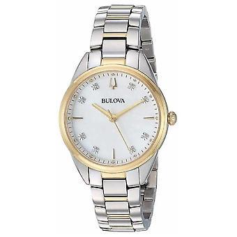Bulova Women's Diamond parelmoer twee Toon geval 98 P 184 Watch
