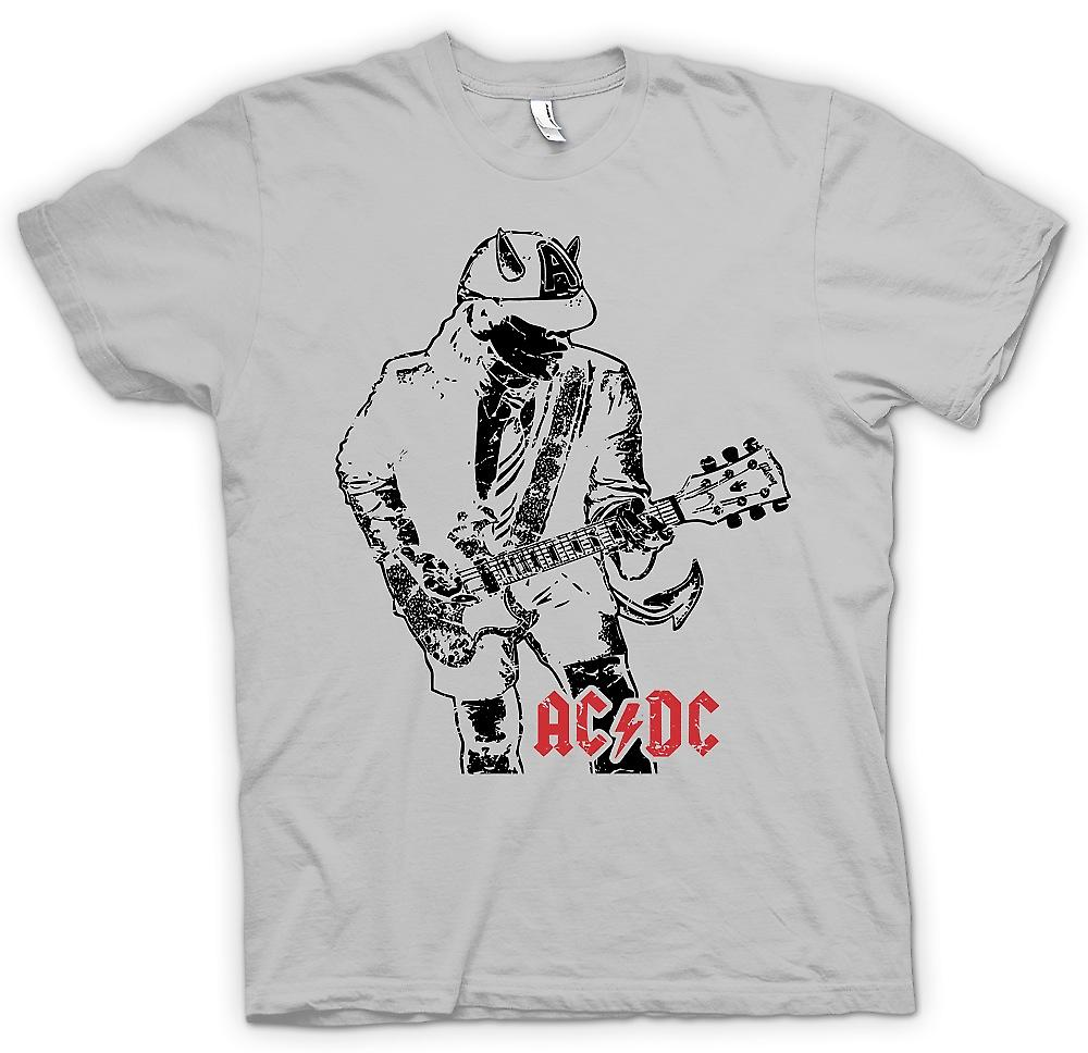 Mens T-shirt - AC/DC Angus Gibson SG With Horns