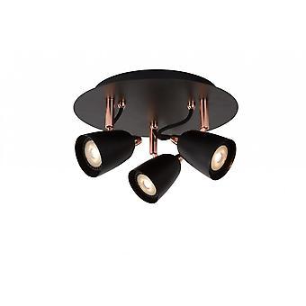 Lucide Ride-LED moderne ronde metalen koper en zwart vlek licht plafond