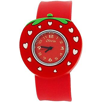 TOC Kids Analogue Red Dial Strawberry Slap Watch With White Hearts TOC162