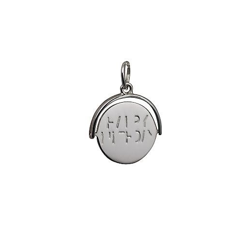 Silver 15x16mm round Happy Birthday spinning disc Pendant or Charm