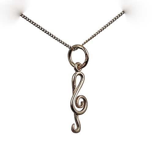 9ct Gold 15x6mm round wire G Clef Pendant with a curb Chain 16 inches Only Suitable for Children