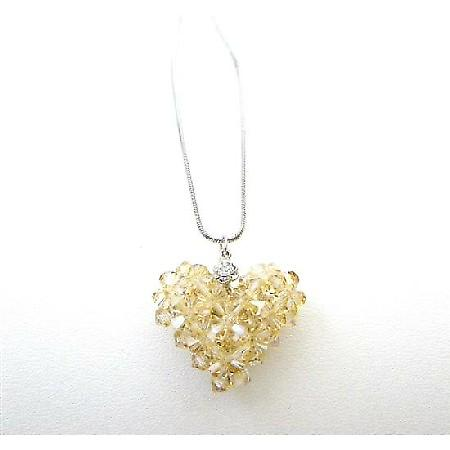 Golden Shadow Crystals Puffy Heart Pendant Handmade Romantic Jewelry
