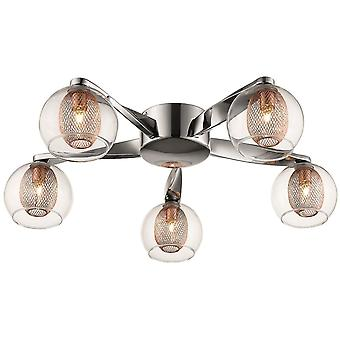 Spring Lighting - Liverpool Chrome And Copper Five Light Flush Fitting  DBOP057DQ5GMVT