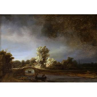 Landskapet med en Stone Bridge, Rembrandt, 40x60cm med brett