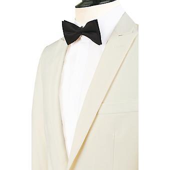 Dobell Mens bianco 2 pezzo Smoking Slim Fit picco risvolto sera cena vestito pantaloni neri