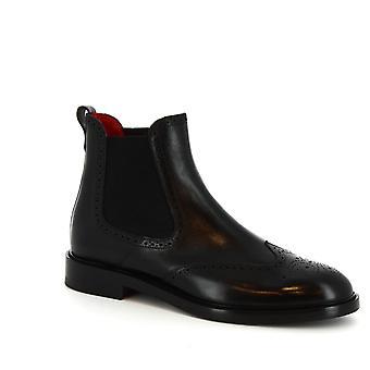 Bout d'aile à la main de Leonardo chaussures Chelsea bottes en cuir de veau noir
