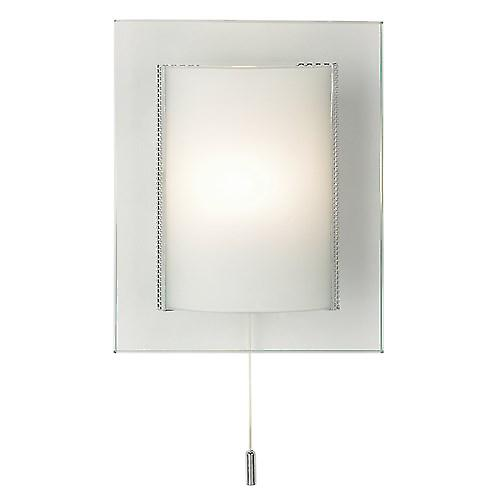 Endon 2011-WB Modern Switched Cruved Glass Wall Light With Chome Trim