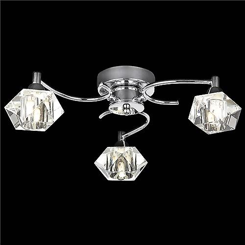 Endon ARIETTA-3FCH Arietta Modern Flush Ceiling Light With Clear Glass Shades