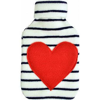Cuddlesoft Fleece Applique 2L Hot Water Bottle: Striped Heart