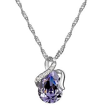 18K White-Gold Plated Dew Necklace-Purple