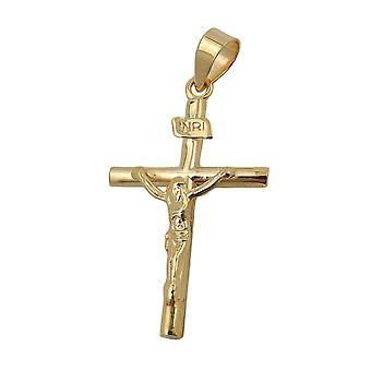 Jesuskreuz Kommunionkreuz gold 375 Anhänger, Kreuz mit Jesus glänzend, 9 Kt
