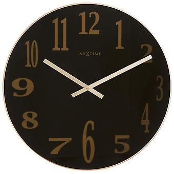 ساعة حائط نيكستيمي Ø 43 × 3, 5 سم زجاج زجاج مرآة الدخان الأسود (الديكور، والساعات)