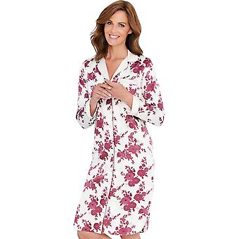 Ladies Womens Floral Nightshirt Matt Satin
