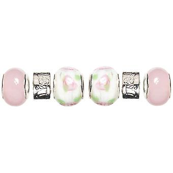 Trinkettes Glass & Metal & Clay Beads 6 Pkg Pink & White Roses T346gmb6 99035