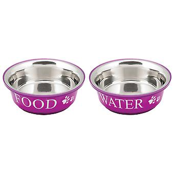 Food & Water Set Large 2qt-Fuchsia 10192
