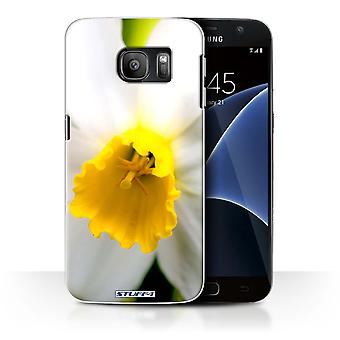 STUFF4 Case/Cover for Samsung Galaxy S7/G930/White Flower/Floral Garden Flowers