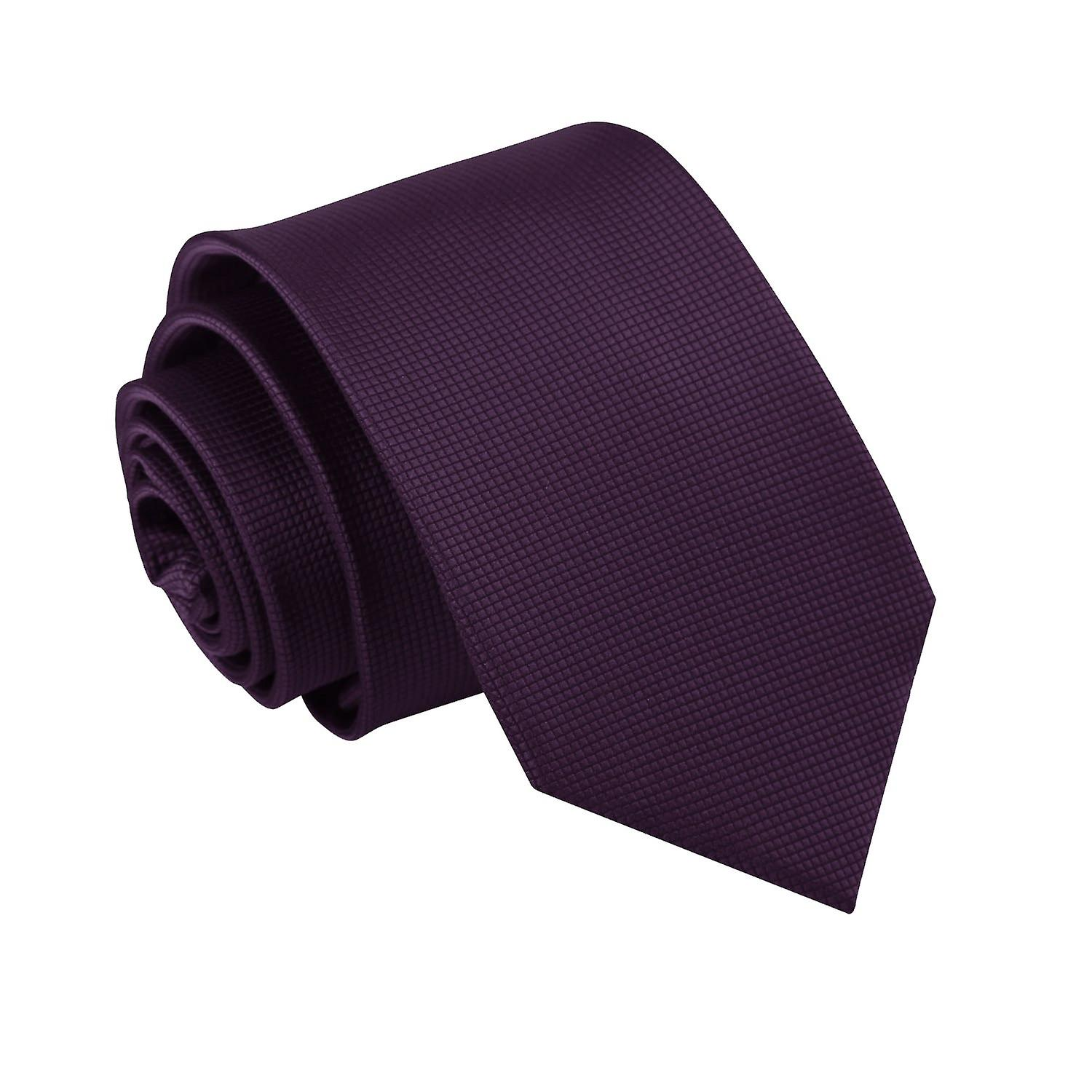 Solid Check Cadbury Purple Slim Tie