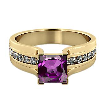 14K Yellow Gold 1.20 ctw Amethyst Ring with Diamonds Bridge Channel set Princess