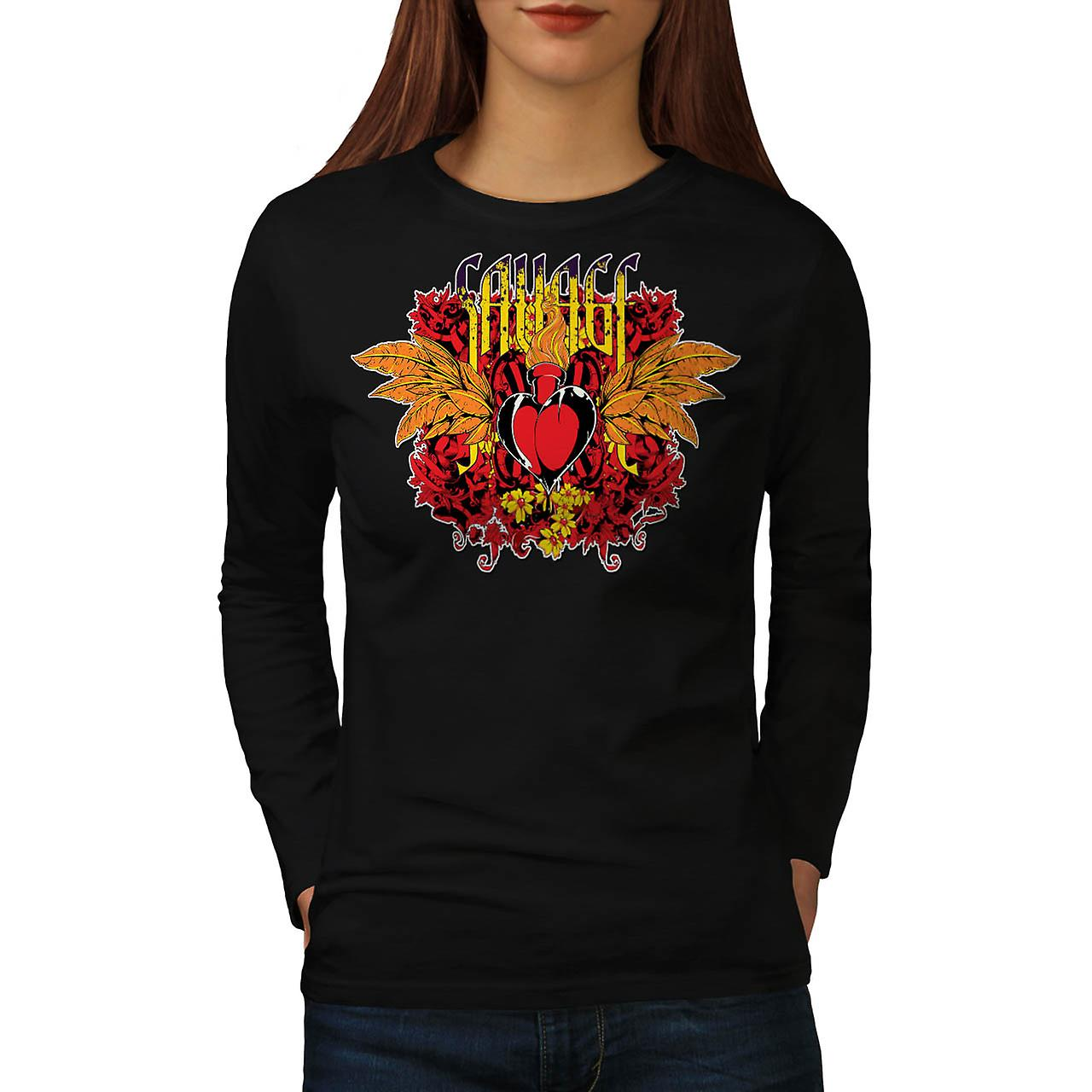 Savage Heart Cool Fashion Women Black Long Sleeve T-shirt | Wellcoda