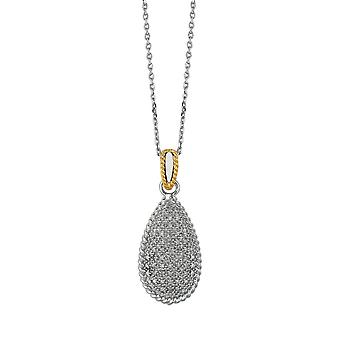 Sterling sølv 14k guld-blinkede guld kæde halskæde dråbeformet vedhæng 0.31ct hvid diamant 18 tommer