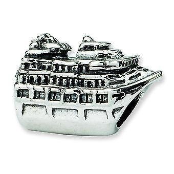 Sterling Silver polerat antik finish reflektioner Cruise Ship pärla Charm