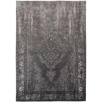 Distressed Grey Neutral Medallion Flatweave Rug 230 x 330 - Louis de Poortere
