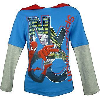 Boys Marvel Spiderman Hooded | Long Sleeve Top
