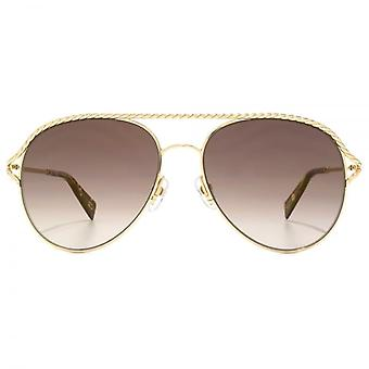 Marc Jacobs Metall Twist Aviator Sonnenbrille In Gold Havanna