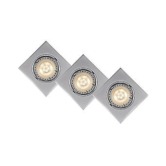 Lucide Kit Of 3 Square Satin Chrome 5W LED Downlights