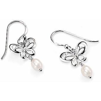 925 argento perla e orecchini farfalla