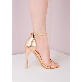 Sandalias de tacón apenas allí atados en oro rosa
