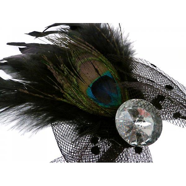W.A.T Feather And Crystal  Hair Decoration Or Brooch
