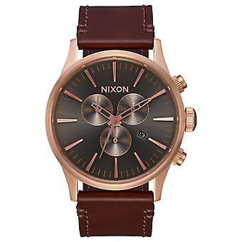 Nixon The Sentry Chrono Leather Watch - Rose Gold/Brown/Green